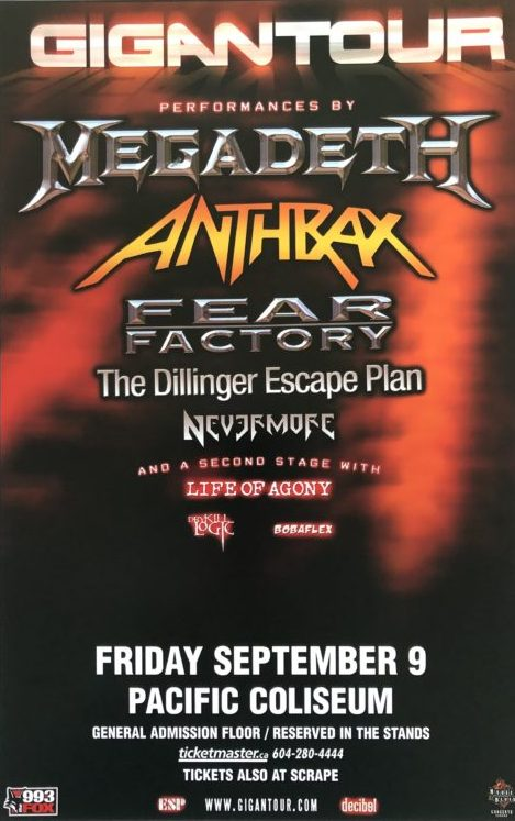 "<b>Megadeth / Anthrax / Fear Factory and more</b> <br/>""Vancouver"" 24″x36″"