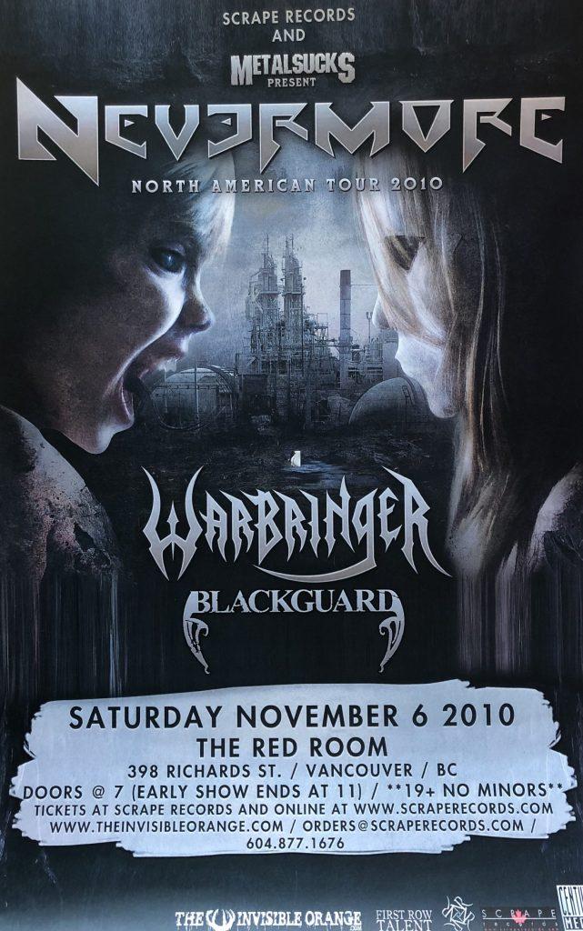 "<b>Nevermore / Warbringer / Blackguard</b> <br/>""Vancouver"" 11″x17″"