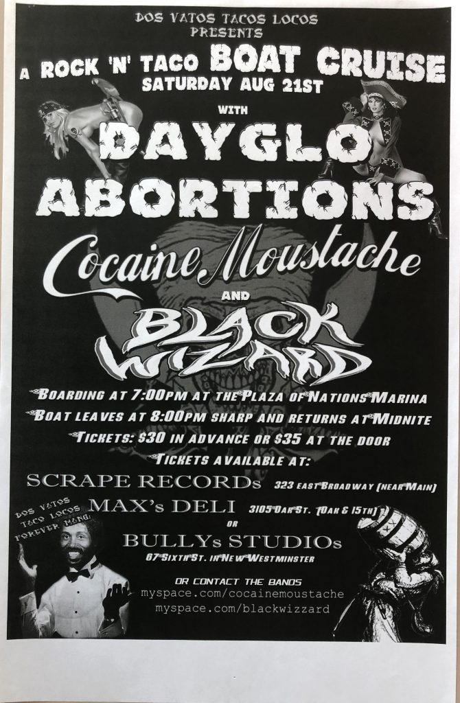 "Dayglo Abortions / Cocaine Moustache / Black Wizard – ""Vancouver"" 11″x17″"