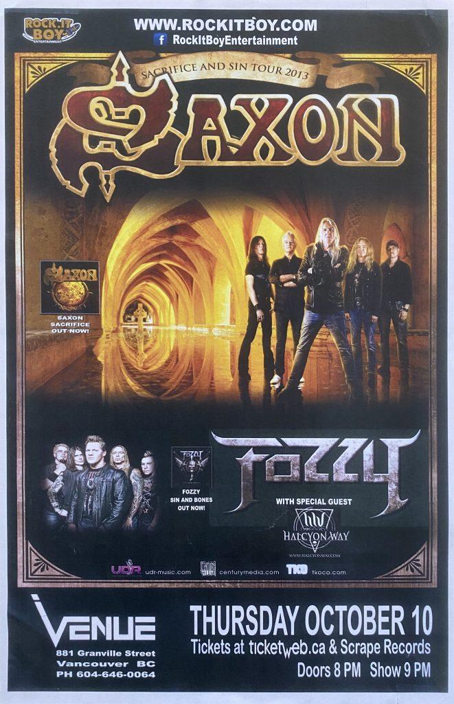 "Saxon / Fozzy – ""Vancouver"" 11″x17″"