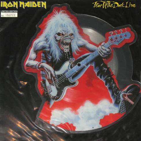 """Iron Maiden – """"Fear of the Dark (Live) / Tailgunner (Live)"""" 7″ Shaped Picture Disc"""