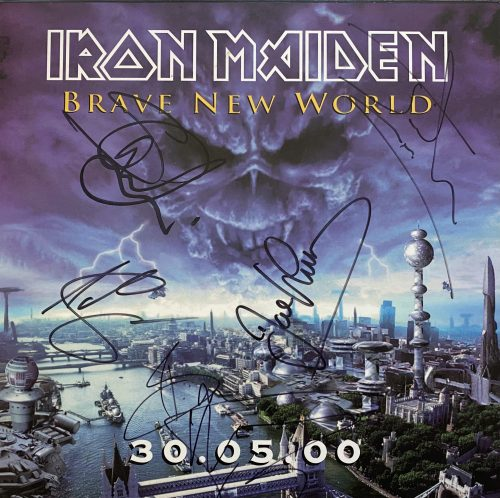 """Iron Maiden – """"Brave New World"""" Mounted Album Flat Signed by Full Band"""