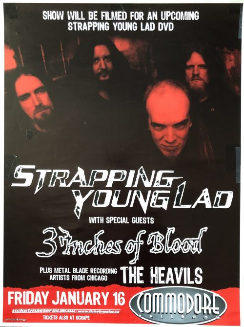 """Strapping Young Lad / 3 Inches of Blood / The Heavils- """"Vancouver"""" 18″x24″"""